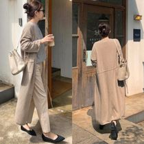Casual Style Wool Cashmere Street Style Long Sleeves Plain
