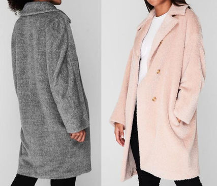 Wool Plain Medium Office Style Elegant Style Wrap Coats