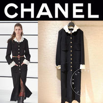 CHANEL ICON Casual Style Wool Street Style Bi-color Long Sleeves Plain