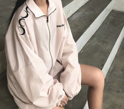 Street Style Plain Medium Logo Varsity Jackets