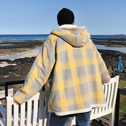 Short Other Plaid Patterns Wool Street Style Duffle Coats