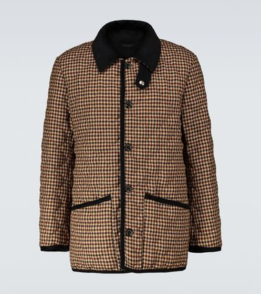 Short Other Plaid Patterns Wool Blended Fabrics Logo Jackets