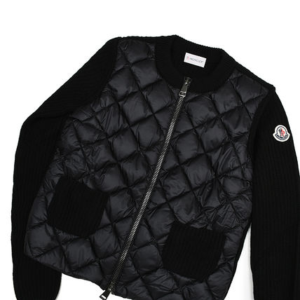 MONCLER Short Wool Blended Fabrics Long Sleeves Elegant Style Logo