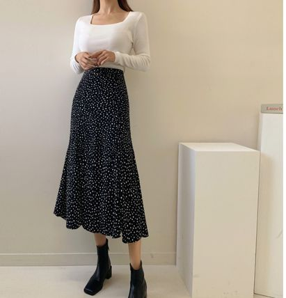 Pencil Skirts Flared Skirts Dots Casual Style Long