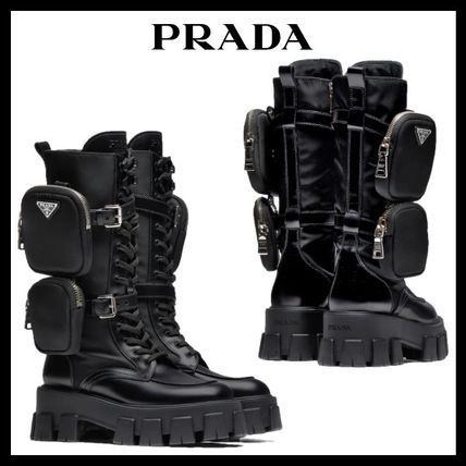 PRADA Street Style Plain Leather Logo Military Engineer Boots