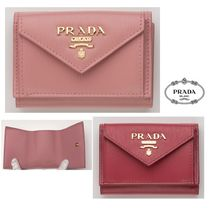 PRADA Unisex Plain Leather Small Wallet Logo Folding Wallets