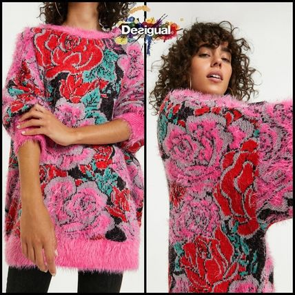 Flower Patterns Casual Style Long Sleeves Medium Oversized