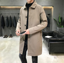 Stand Collar Coats Street Style Plain Chester Coats