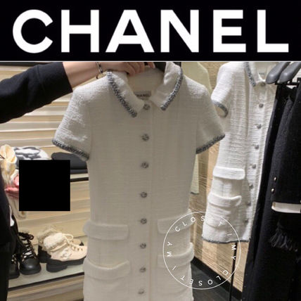 CHANEL ICON Casual Style Tight Tweed Plain Short Sleeves Elegant Style
