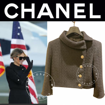 CHANEL ICON Short Casual Style Wool Blended Fabrics Street Style Plain