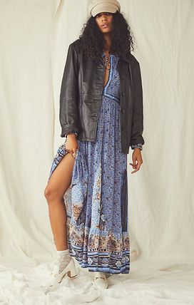 Flower Patterns Casual Style Maxi V-Neck Long Sleeves