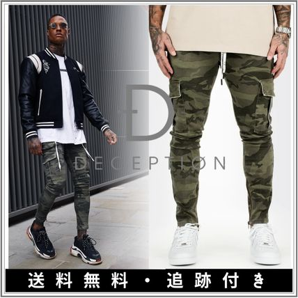Tapered Pants Printed Pants Camouflage Street Style Chain