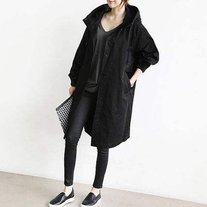Front Button Casual Style Plain Long Jackets