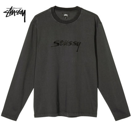 STUSSY Crew Neck Street Style Long Sleeves Long Sleeve T-shirt Logo