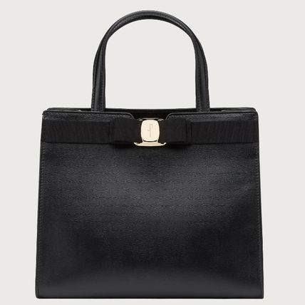 Casual Style Calfskin 2WAY Plain Office Style Elegant Style