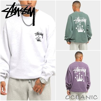 STUSSY Sweatshirts Crew Neck Unisex Long Sleeves Plain Cotton Logo Skater Style