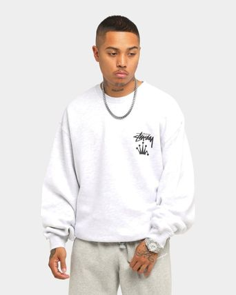 STUSSY Sweatshirts Crew Neck Unisex Long Sleeves Plain Cotton Logo Skater Style 2