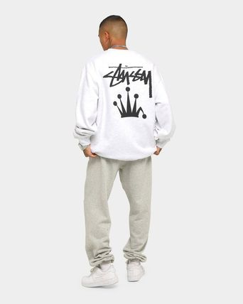 STUSSY Sweatshirts Crew Neck Unisex Long Sleeves Plain Cotton Logo Skater Style 3