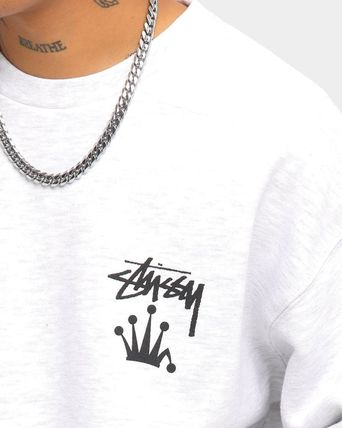 STUSSY Sweatshirts Crew Neck Unisex Long Sleeves Plain Cotton Logo Skater Style 5