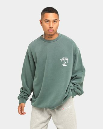 STUSSY Sweatshirts Crew Neck Unisex Long Sleeves Plain Cotton Logo Skater Style 8