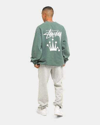 STUSSY Sweatshirts Crew Neck Unisex Long Sleeves Plain Cotton Logo Skater Style 9