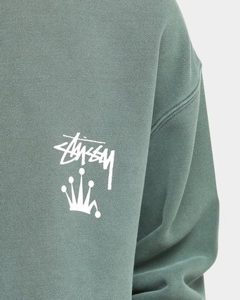 STUSSY Sweatshirts Crew Neck Unisex Long Sleeves Plain Cotton Logo Skater Style 11