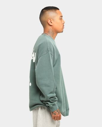 STUSSY Sweatshirts Crew Neck Unisex Long Sleeves Plain Cotton Logo Skater Style 12