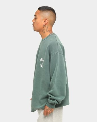 STUSSY Sweatshirts Crew Neck Unisex Long Sleeves Plain Cotton Logo Skater Style 13