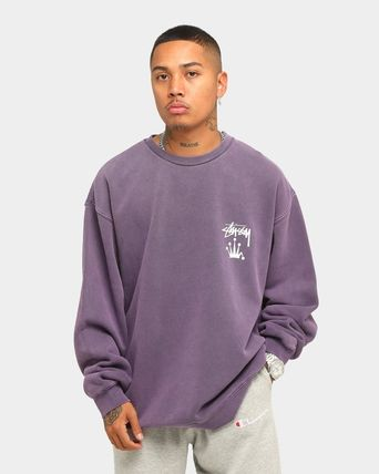 STUSSY Sweatshirts Crew Neck Unisex Long Sleeves Plain Cotton Logo Skater Style 14