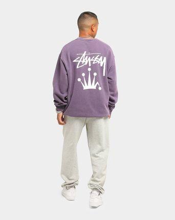 STUSSY Sweatshirts Crew Neck Unisex Long Sleeves Plain Cotton Logo Skater Style 15