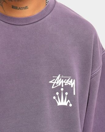 STUSSY Sweatshirts Crew Neck Unisex Long Sleeves Plain Cotton Logo Skater Style 17