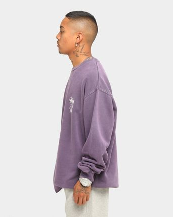 STUSSY Sweatshirts Crew Neck Unisex Long Sleeves Plain Cotton Logo Skater Style 19