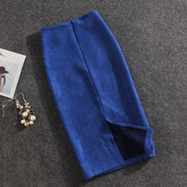 Pencil Skirts Casual Style Wool Plain Medium Party Style