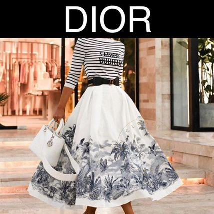 Christian Dior Flared Skirts Tropical Patterns Casual Style Street Style