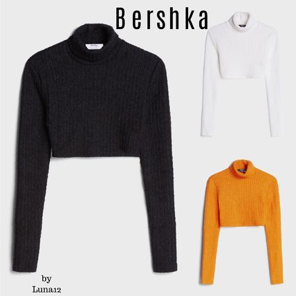 Bershka Short Casual Style Long Sleeves Plain High-Neck Cropped