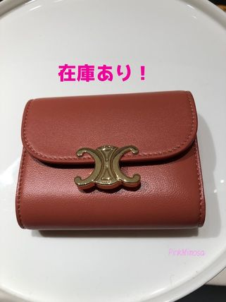 CELINE Triomphe Small Triomphe Wallet In Shiny Smooth Lambskin
