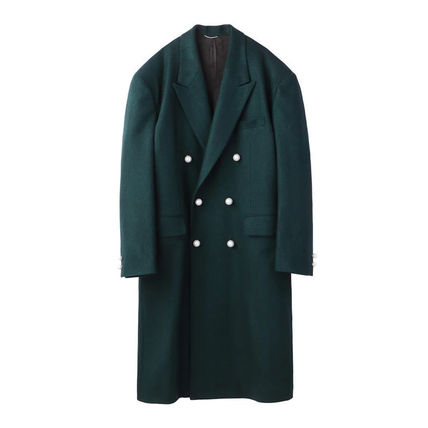 Wool Street Style Plain Long Duffle Coats
