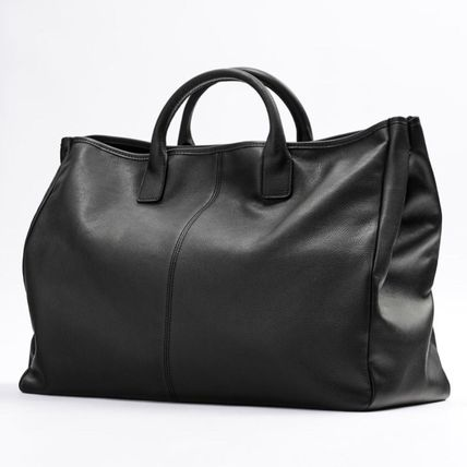 Unisex A4 2WAY Plain Leather Logo Totes