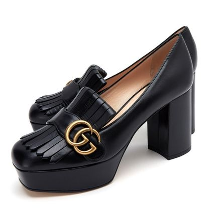 GUCCI Plain Leather Wedge Pumps & Mules