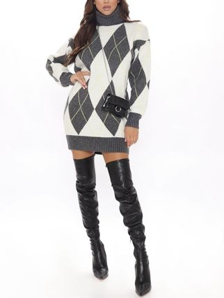 Short Argile Casual Style Tight Wool Long Sleeves Dresses