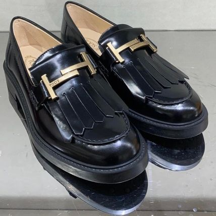 TOD'S Casual Style Tassel Plain Leather Fringes Office Style
