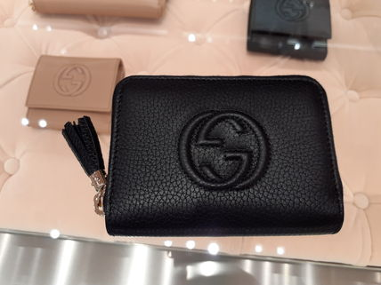 GUCCI Soho Plain Leather Small Wallet Logo Coin Cases