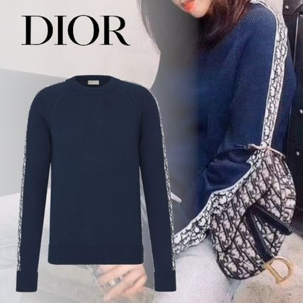 Christian Dior DIOR OBLIQUE Crew Neck Casual Style Unisex Street Style Long Sleeves