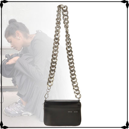 Casual Style Chain Plain Leather Elegant Style Formal Style