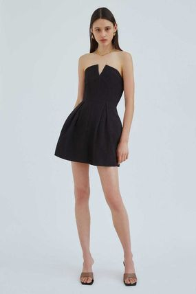 Short A-line Sleeveless Flared Plain Party Style