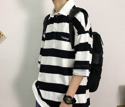 More T-Shirts Stripes Street Style Short Sleeves T-Shirts