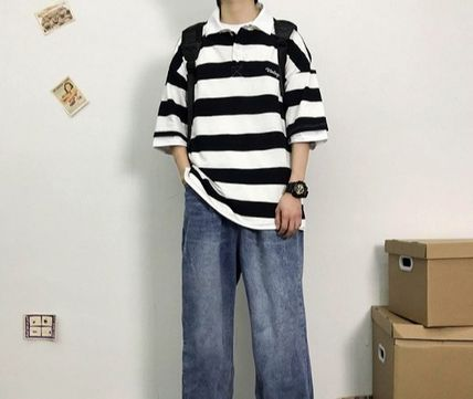 More T-Shirts Stripes Street Style Short Sleeves T-Shirts 2