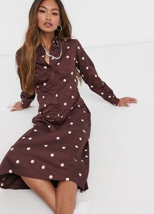 Casual Style Maxi Long Sleeves Shirt Dresses Dresses