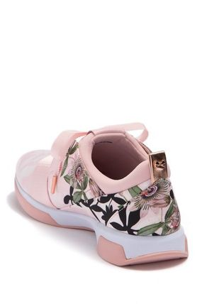 Flower Patterns Round Toe Rubber Sole Lace-up Casual Style