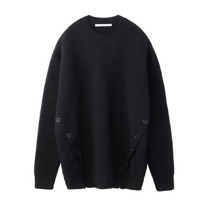 Crew Neck Wool Street Style Long Sleeves Plain Oversized